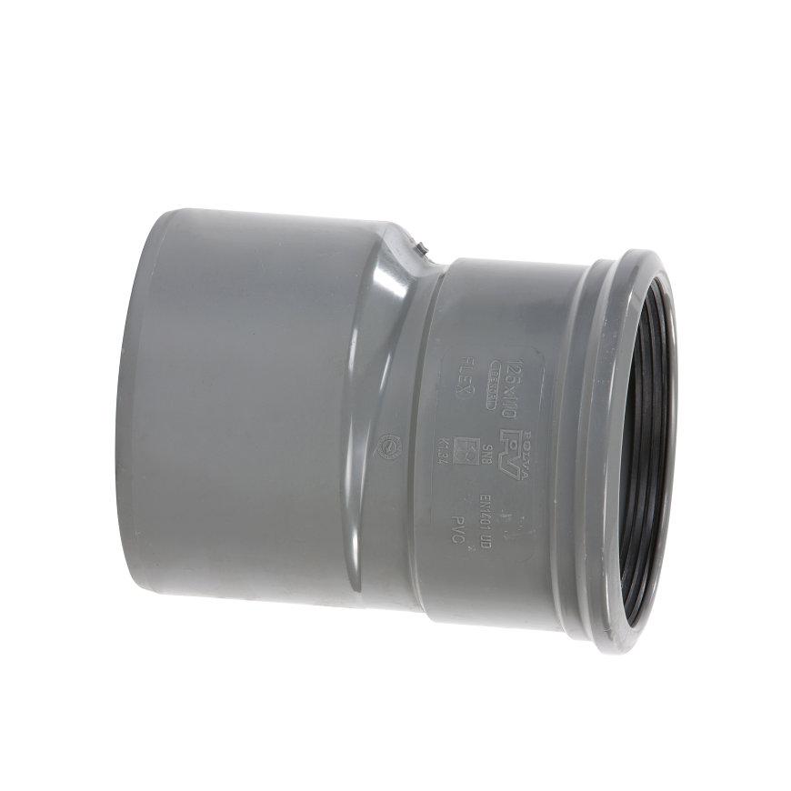 Pvc verloopstuk excentrisch, spie x manchet, KOMO, SN4, 250 x 125 mm  default 870x870