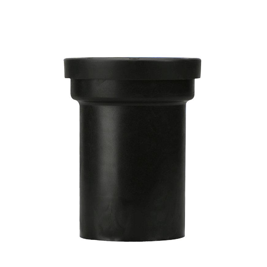 Abu pe wandcloset aansluitstuk met keerklep, recht, zwart, 110 mm
