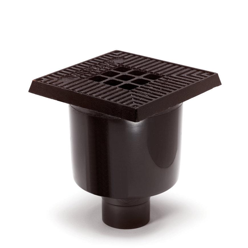 Pvc vloerput met gietijzeren rand en rooster, 200 x 200 mm  default 870x870