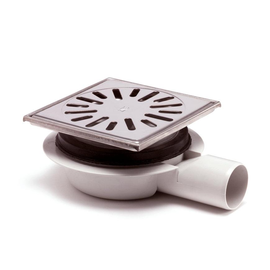 Abs vloerput + rvs opzetstuk+rooster, h = verstel-, draai-+kantelbaar, 150 x 150 mm, zijuitlaat  default 870x870