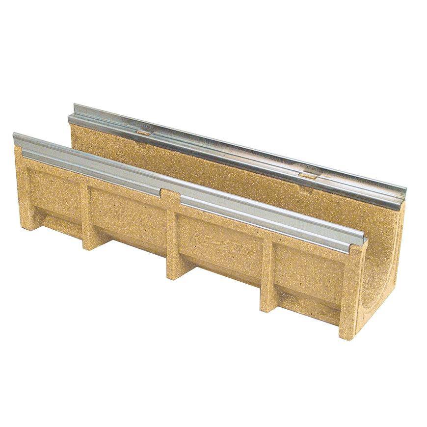 Anrin lijngoot, polyesterbeton, type KE-200, gegalv. rand, met onderuitloop, excl. rooster, 100x13cm