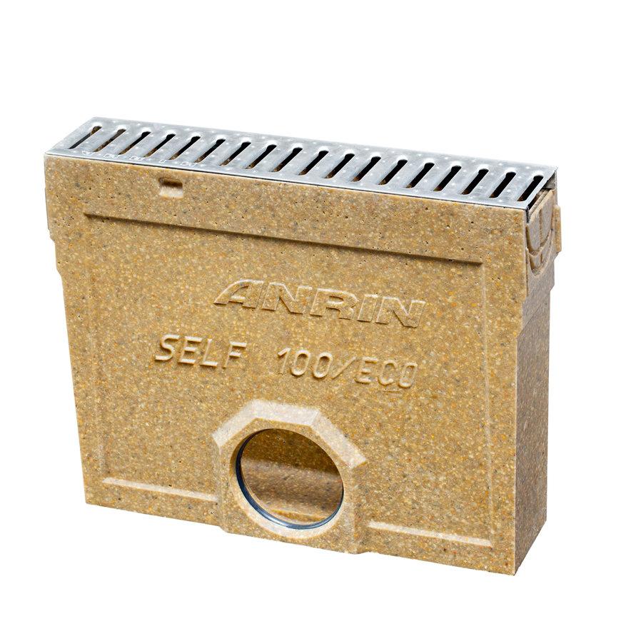 Anrin Einlaufkasten f. Entwässerungsrinne, Mod. SELF-100, Edelstahl-Stegrost u. Schlammeimer, 50cm