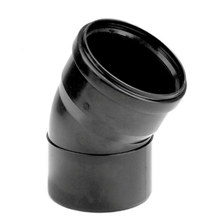 Dyka pp bocht, zwart, 15°, manchet x spie, KOMO, 50 mm