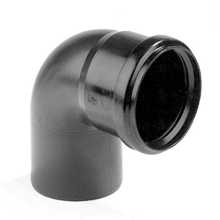 Dyka pp bocht, zwart, 90°, manchet x spie, KOMO, 75 mm