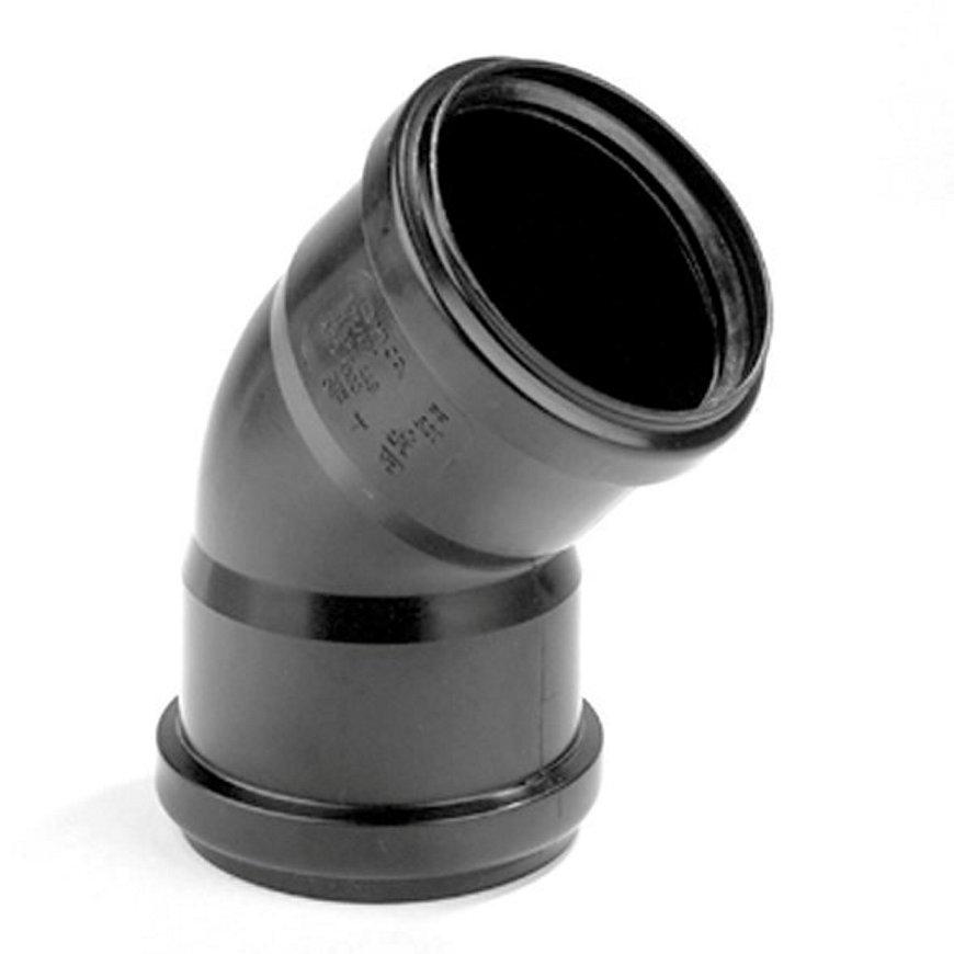 Dyka pp bocht, zwart, 45°, 2x manchet, KOMO, 32 mm