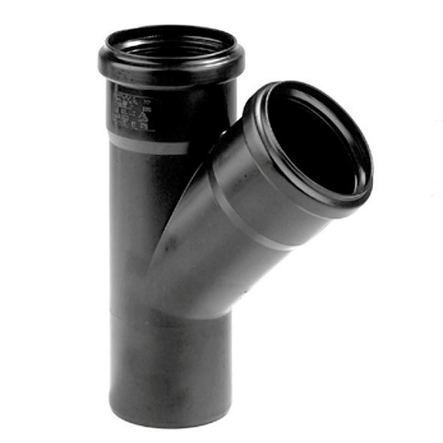 Dyka pp T-stuk, zwart, 45°, 2x manchet/1x spie, KOMO, 50 mm