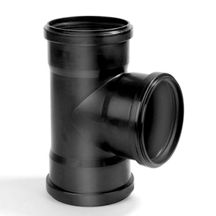 Dyka pp T-stuk, zwart, 90°, 3x manchet, KOMO, 90 mm
