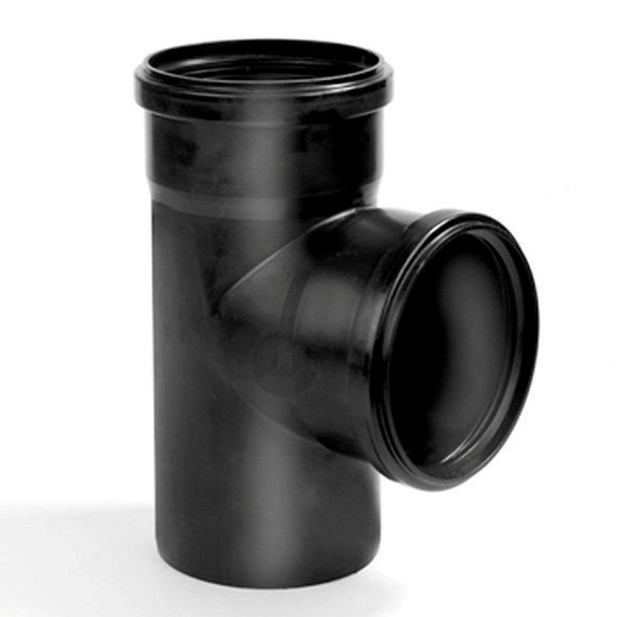 Dyka pp stroom T-stuk, zwart, 90°, 2x manchet / 1x spie, KOMO, 125 mm  default 870x870