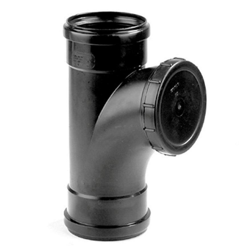 Dyka pp ontstoppingsstuk met schroefdeksel, zwart, 2x manchet, KOMO, 110 mm