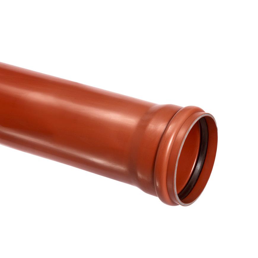 Pvc afvoerbuis met aangevormde manchetmof, roodbruin, RAL 8023, SN8, l = maximaal 5 m, 315 x 9,2 mm