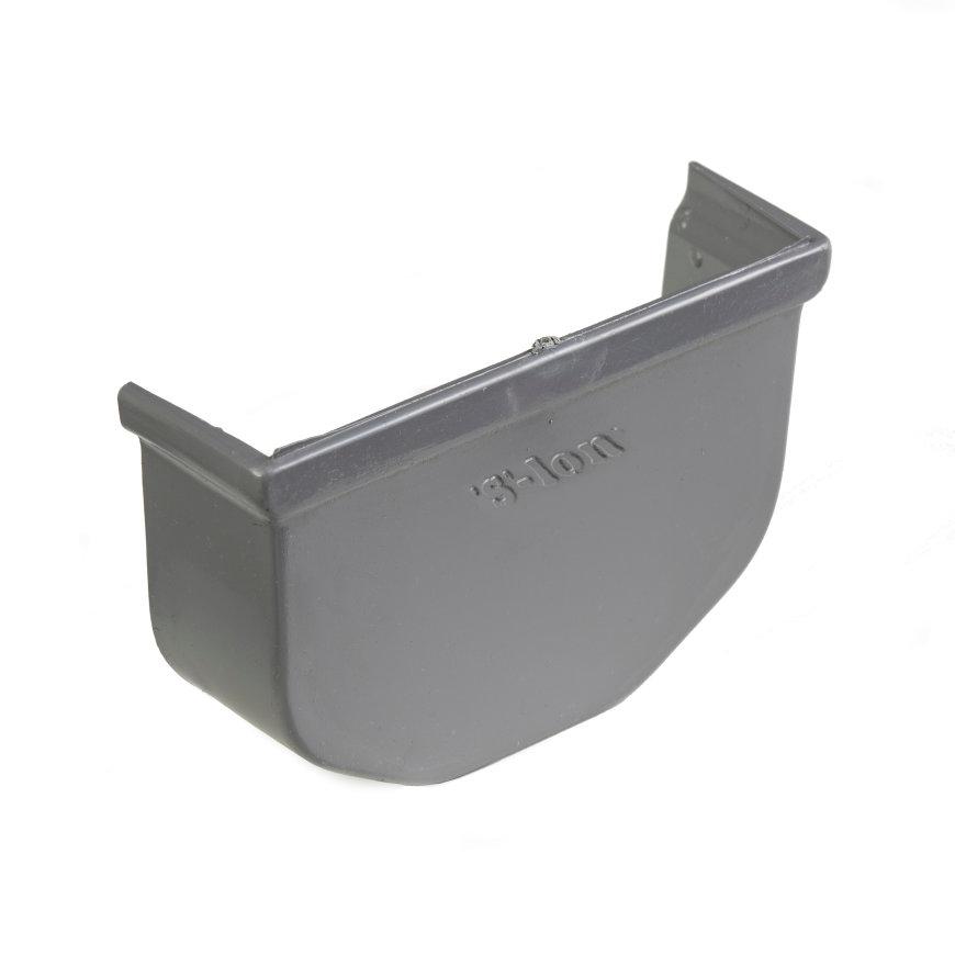S-lon eindstuk, pvc, 65 mm, grijs