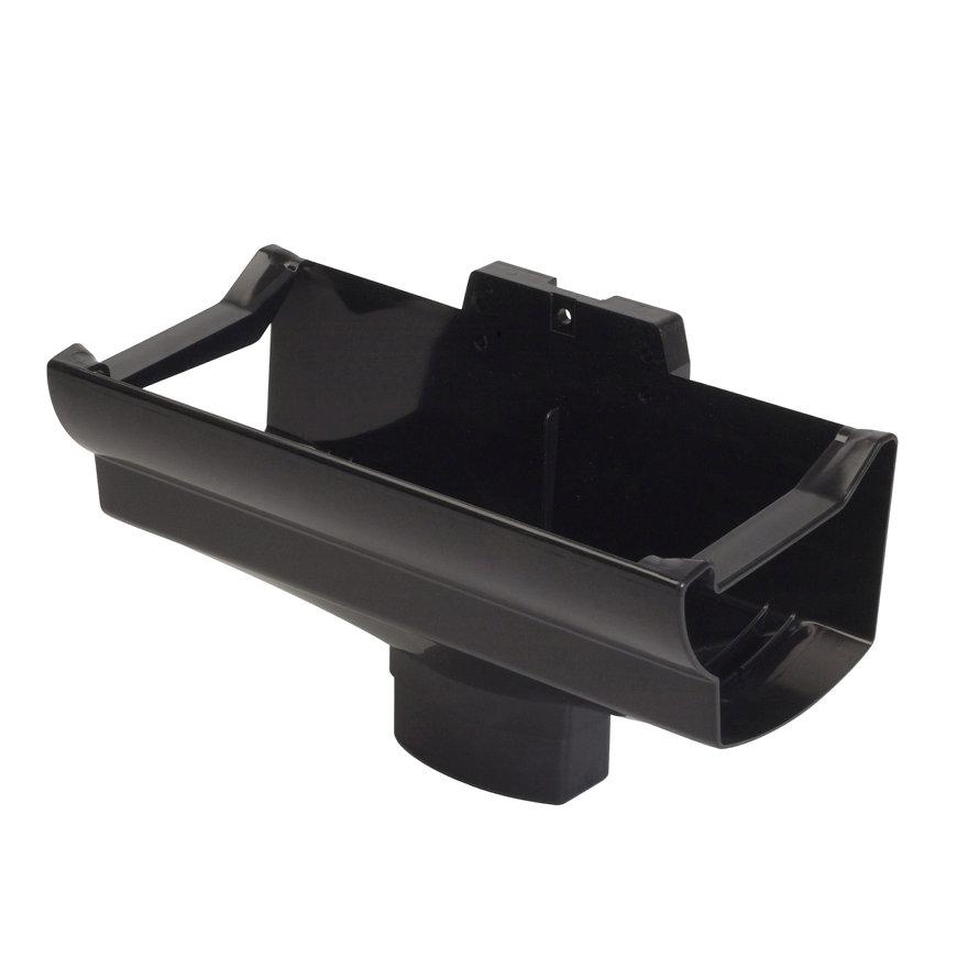 Nicoll Ovation gootuitloop, pvc, centraal, zwart, RAL 9011, 125 x 90 x 56 mm
