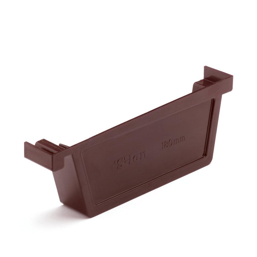 S-lon eindstuk voor bakgoot, pvc, rechts, 180 mm, bruin  default 870x870