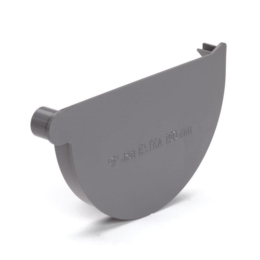 S-lon eindstuk voor mastgoot, pvc, lijm, rechts, grijs, 150 mm