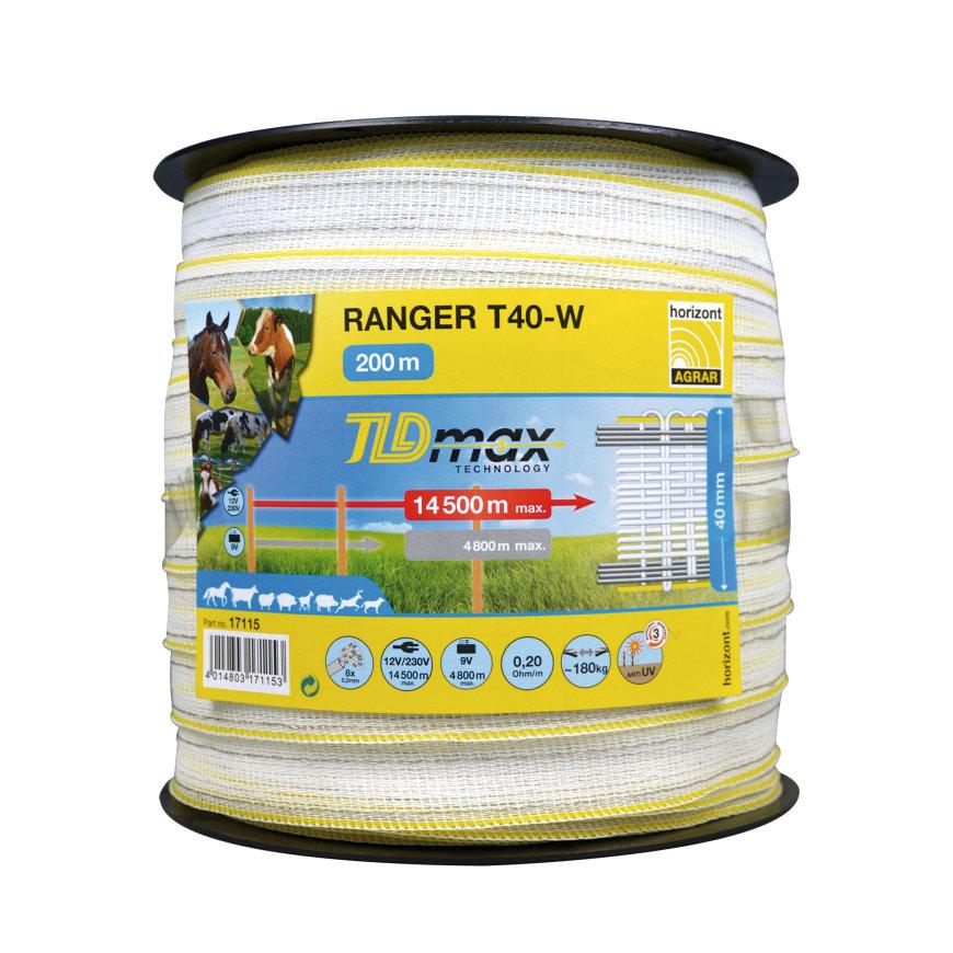 Horizont lint, TLDmax, Ranger T40-W, b = 40 mm, l = 200 m, geel/wit/geel