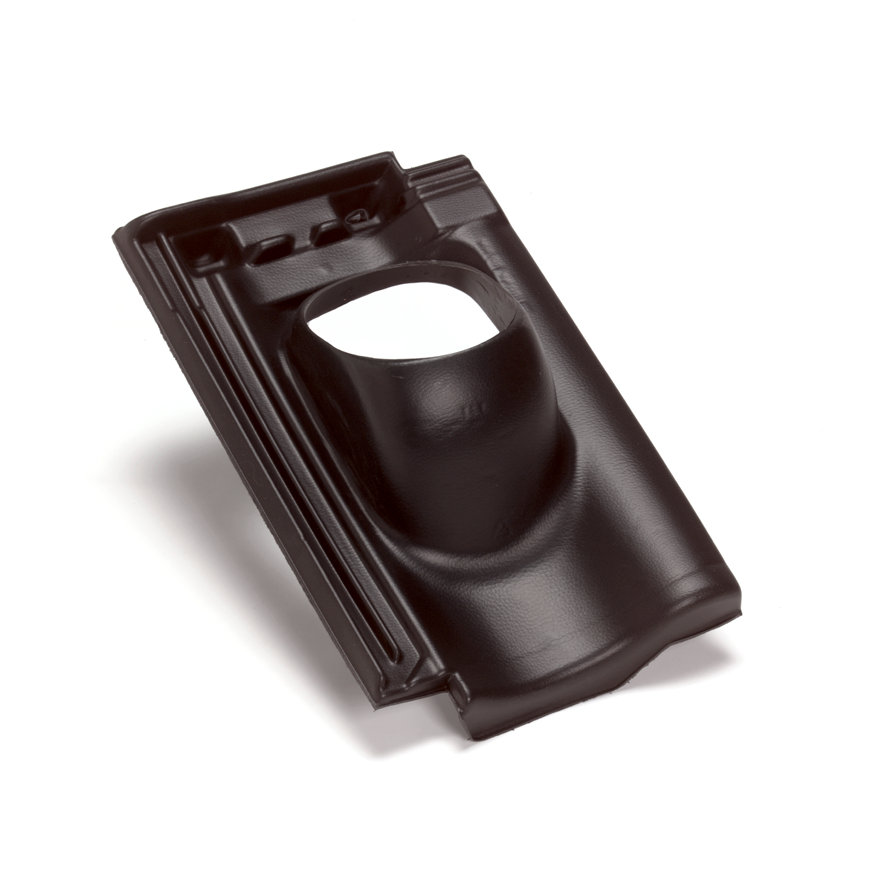 Ubbink dakdoorvoerpan, Mulden hol, kunststof, 131 mm, 1-pans, zwart, dakhelling 25 - 45°