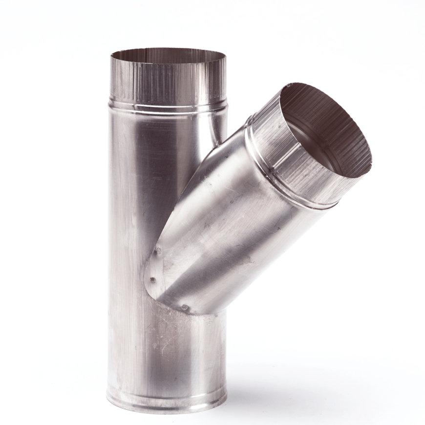 Aluminium T-stuk, enkelwandig, 45°, 1x inwendig/2x verjongd spie, 150 mm