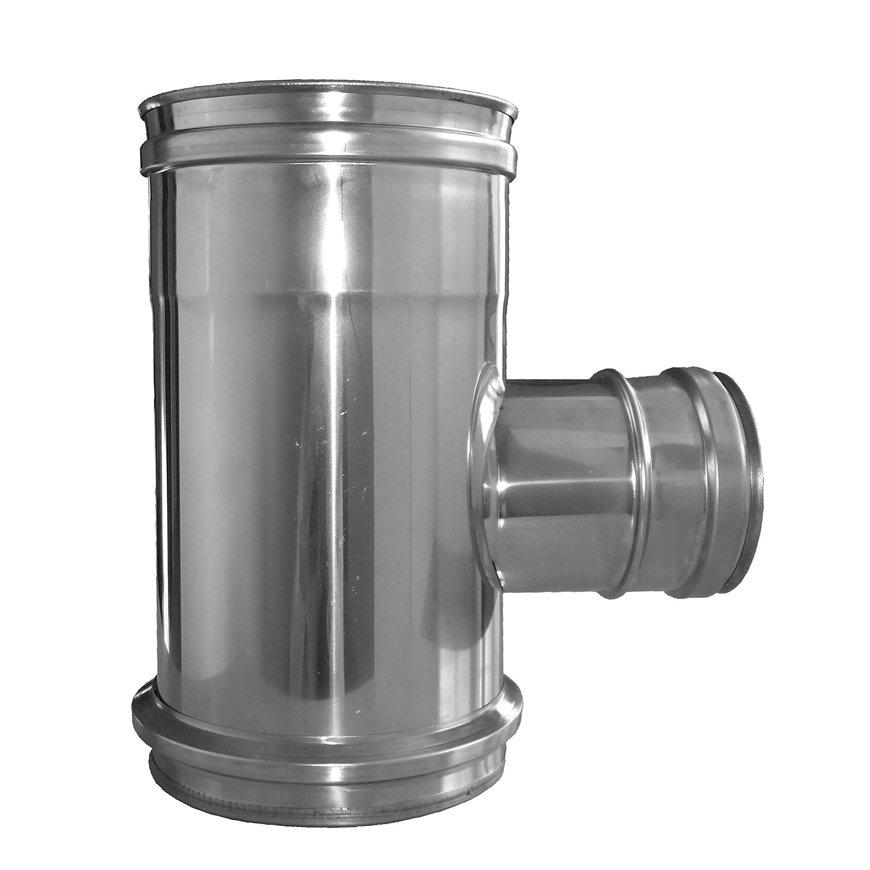 Dinak Diflux pellets, rookgasafvoer T-stuk 90°, met aansluitbeugel,inspectiekap, V-V, 31I, 130/200mm