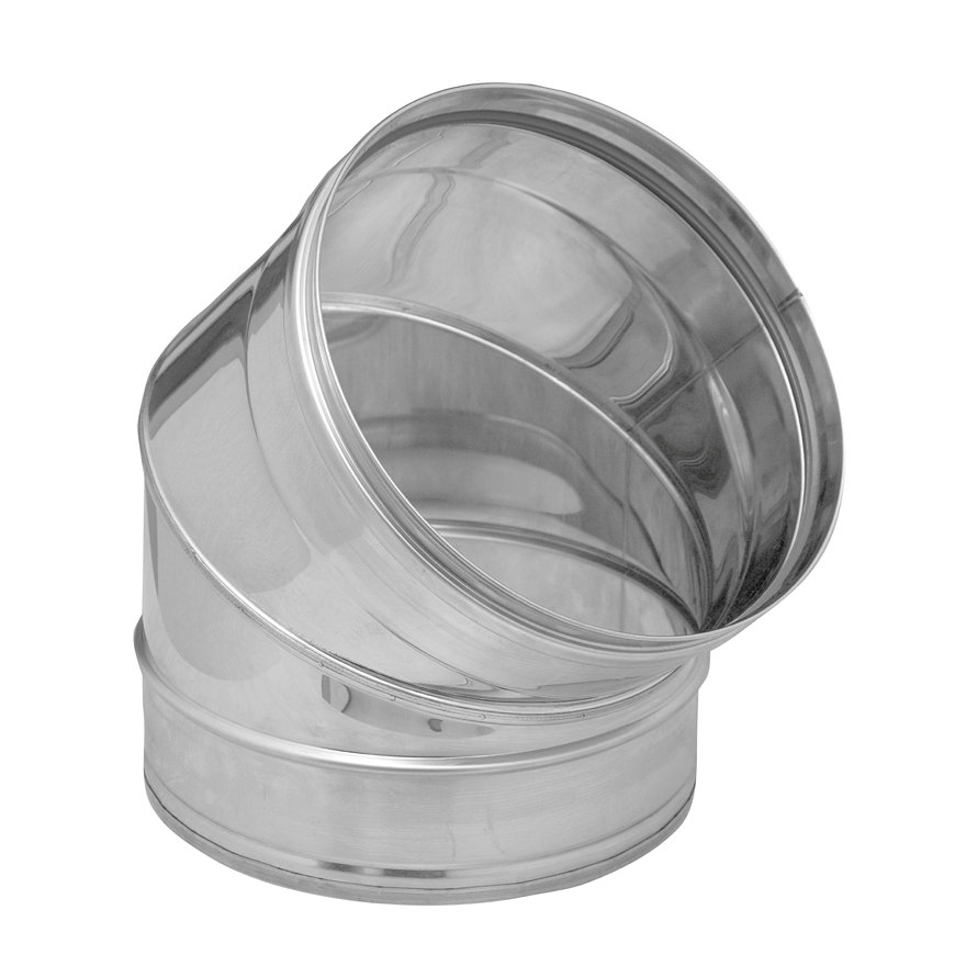 Dinak SW/SW pellets, rookgasafvoerbocht 45°, type 040, 80 mm