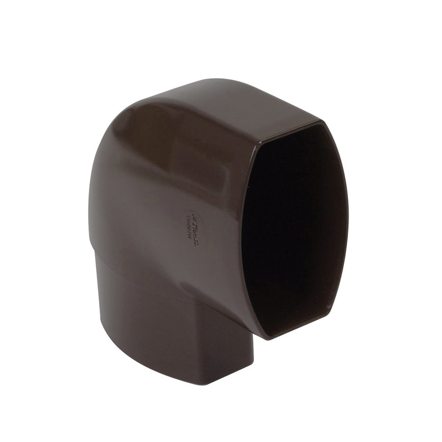 Nicoll Ovation, platte hwa bocht 87°, pvc, inwendig lijm x verjongd spie, bruin, RAL 8017, 90 x 56mm  default 870x870