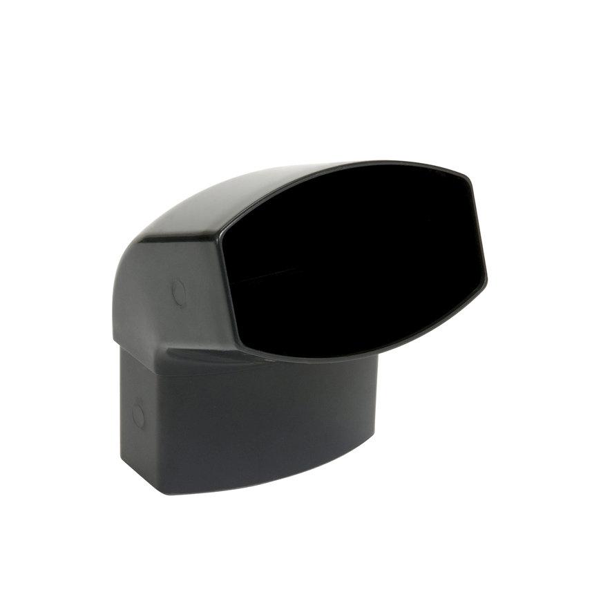 Nicoll Ovation, hwa bocht 67°, pvc, inwendig lijm x verjongd spie, antraciet, RAL 7016, 90 x 56 mm