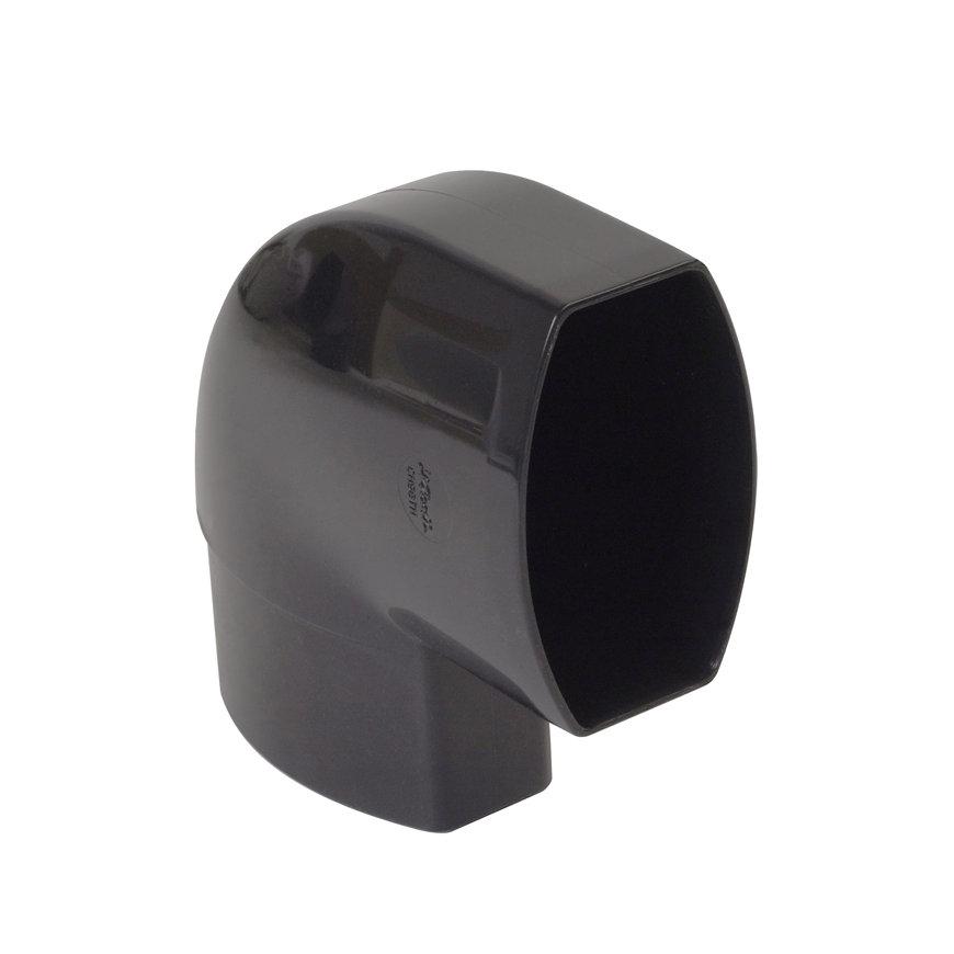 Nicoll Ovation, platte hwa bocht 87°, pvc, inwendig lijm x verjongd spie, zwart, RAL 9011, 90 x 56mm  default 870x870