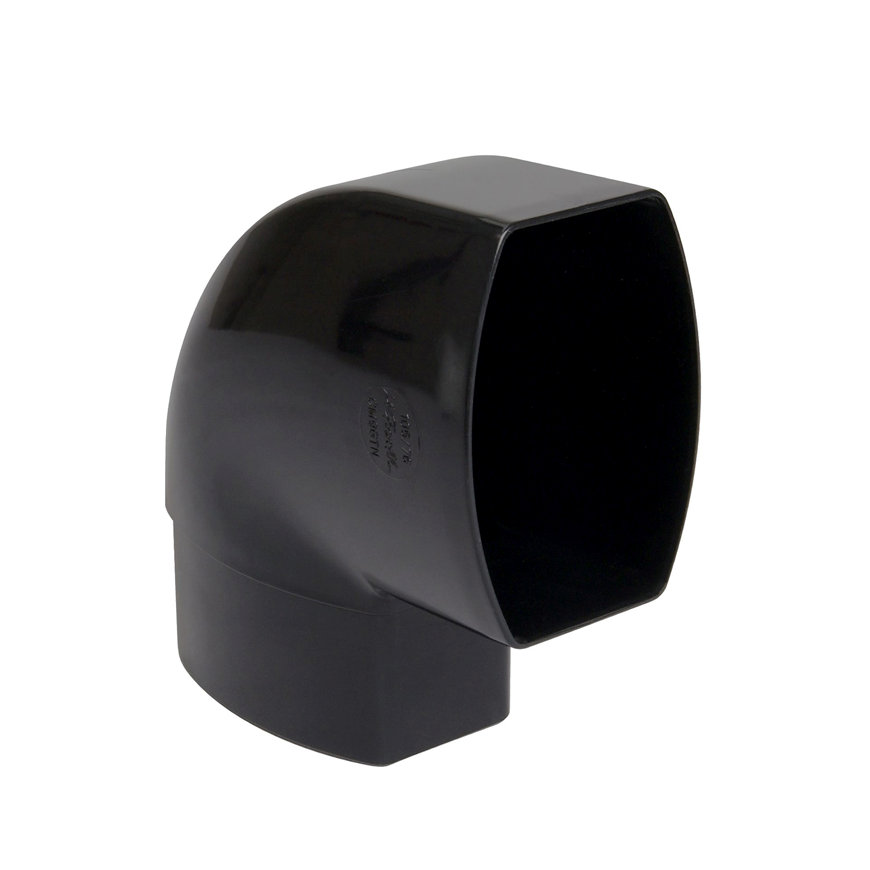 Nicoll Ovation, platte hwa bocht 87°, pvc, inwendig lijm x verjongd spie, zwart, RAL 9011, 105x76mm  default 870x870