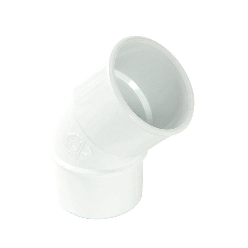 Nicoll hwa bocht 45°, pvc, inwendig lijm x spie, wit, RAL 9010, 50 mm