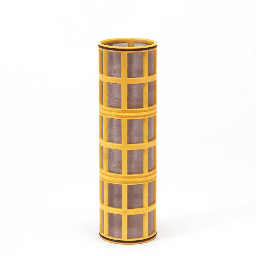 """Amiad cil.zeef tbv kunststof filter 3"""", d x l = 100 x 370 mm, zeefperf. 0,10 mm, geel"""
