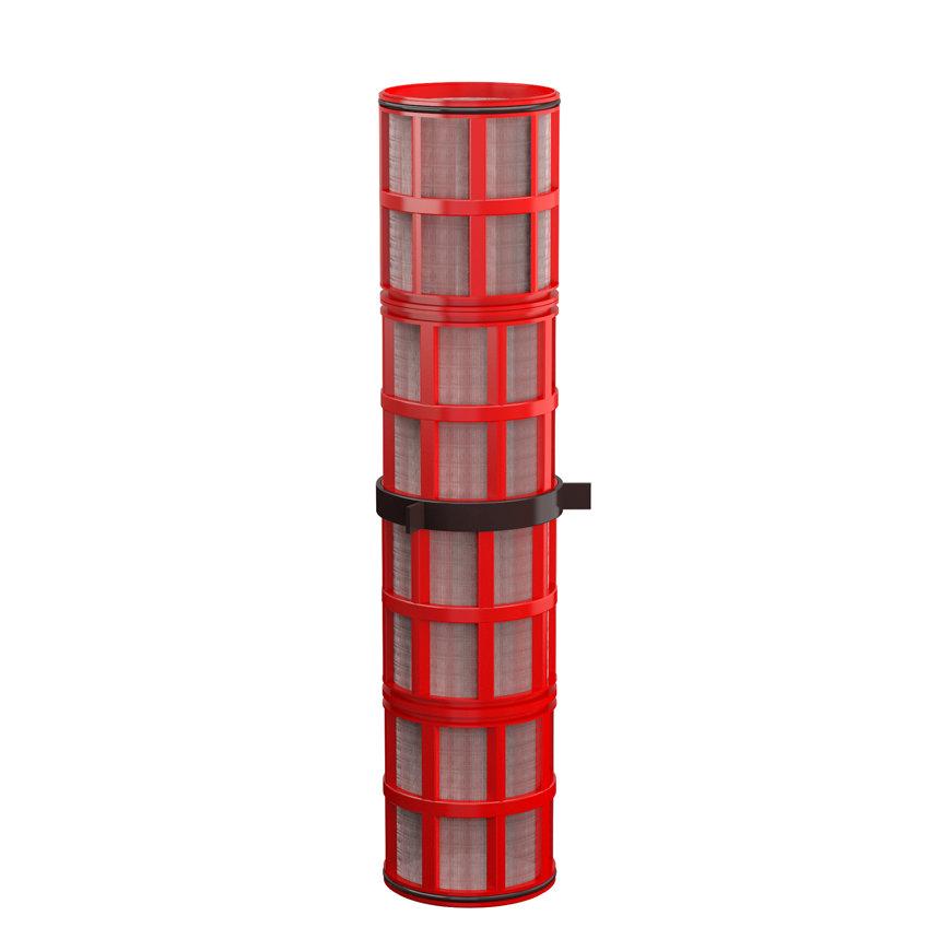 """Amiad cil.zeef tbv stalen filter 3"""", d x l = 100 x 500 mm, zeefperf. 0,13 mm, rood"""