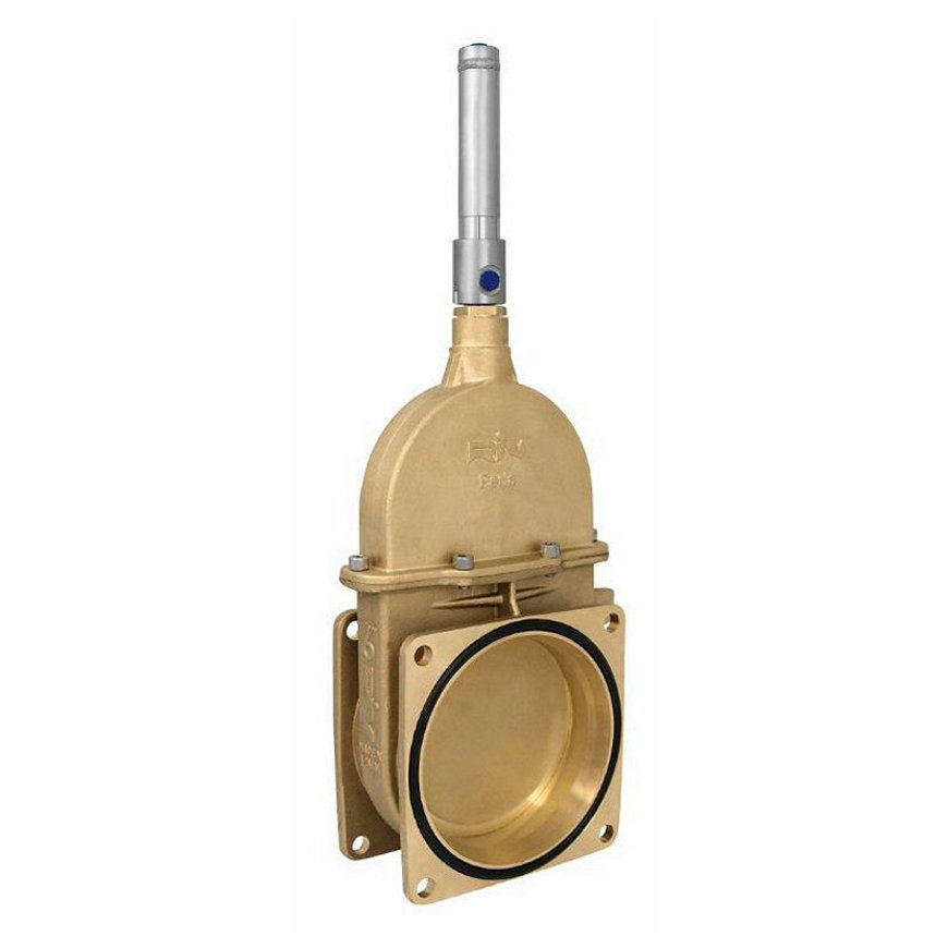 """RIV messing schuifafsluiter, type 14, 2x flens, incl. dubbelwerkende hydraulische cilinder, 6"""""""