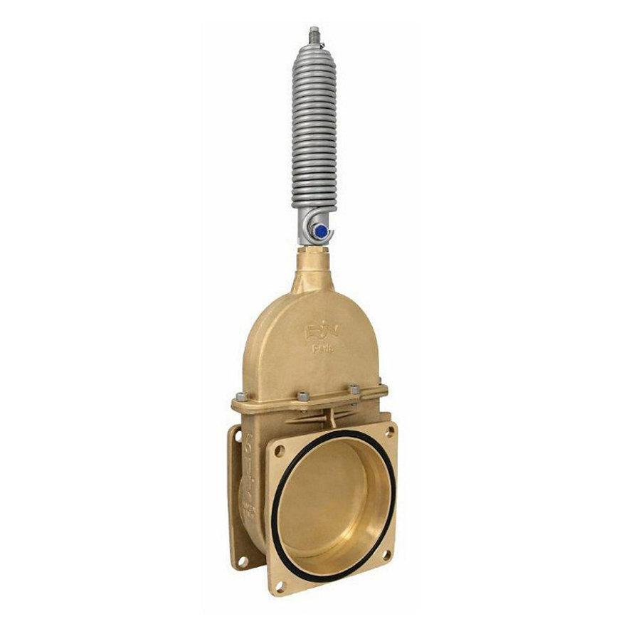 """RIV messing schuifafsluiter, type 19, 2x flens, incl. enkelwerkende stootveercilinder, 5"""""""