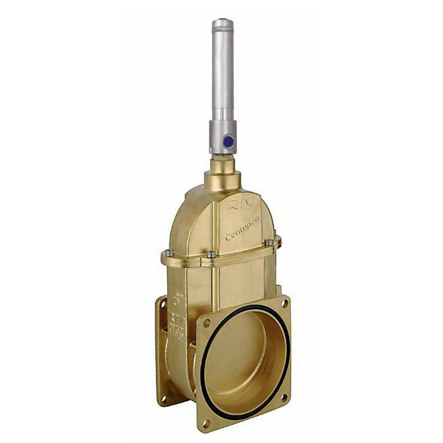 "RIV messing schuifafsluiter, groot vermogen, type 34, 2x flens, incl. dubbelwerk.hydr.cilinder, 6""  default 870x870"