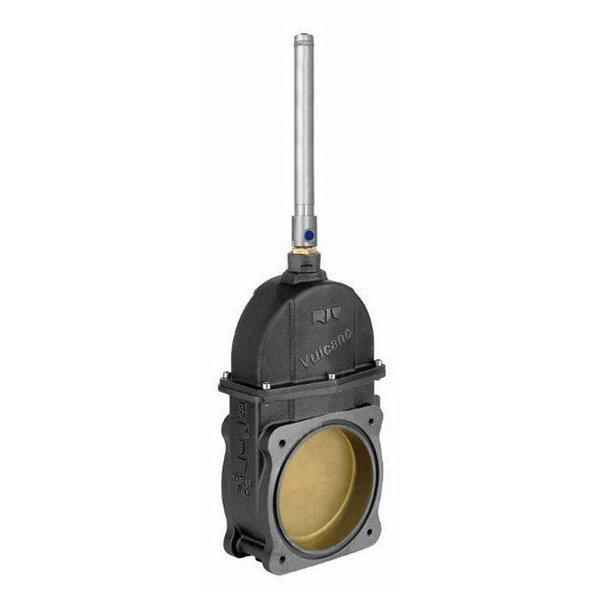 """RIV zware schuifafsluiter, type 97, 2x flens, met messing klep en rubber afdichting, 8"""""""