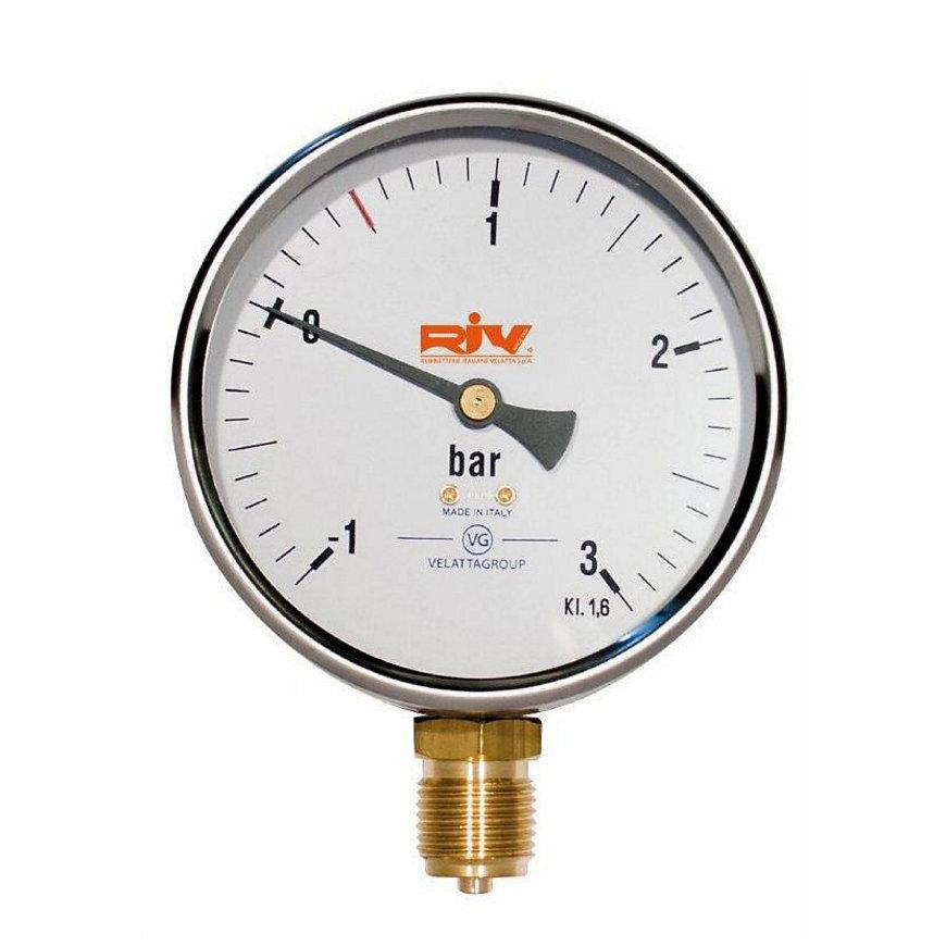 """RIV mano-vacuümmeter (droge uitvoering), type 520, ½"""" x 80 mm"""