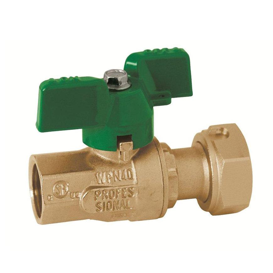 "RIV messing kogelafsluiter voor ingang watermeter, type 5110, 2x bi.dr., volle doorl., ½"" x ¾""  default 870x870"