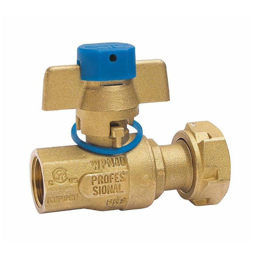"RIV messing kogelafsluiter voor ingang watermeter, type 5130, 2x bi.dr., volle doorl., ¾"" x 1""  default 870x870"