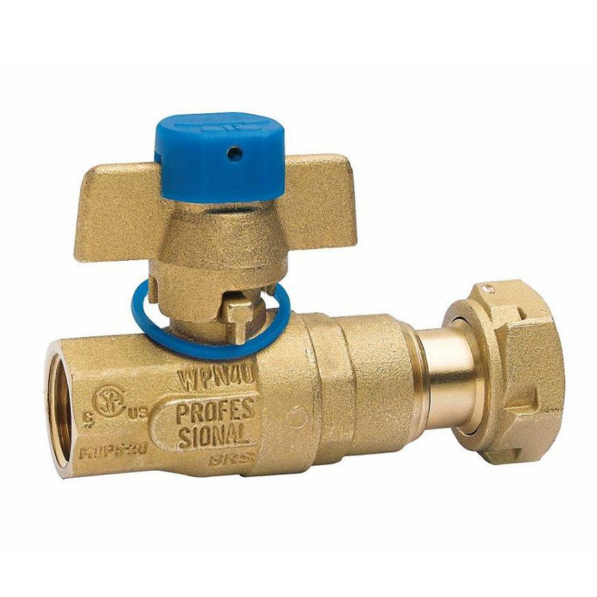 """RIV messing kogelafsluiter voor ingang watermeter, type 5131, 2x bi.dr., volle doorl., ¾"""" x 1"""""""
