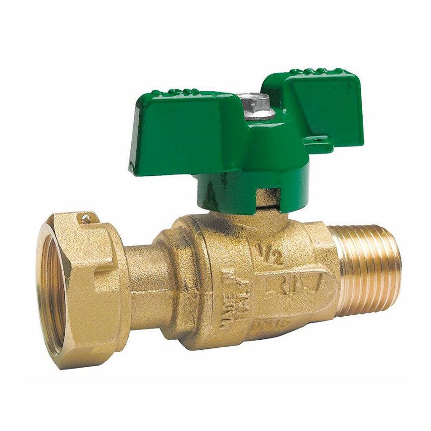 """RIV messing kogelafsluiter voor uitgang watermeter, type 5155, bu.dr. x bi.dr., volle doorl, ¾"""" x 1"""""""