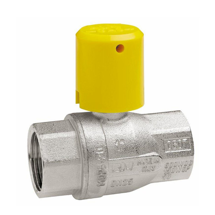 """RIV messing verchroomde gaskogelafsluiter, type 7167, 2x bi.dr., volle doorlaat, 2½"""""""