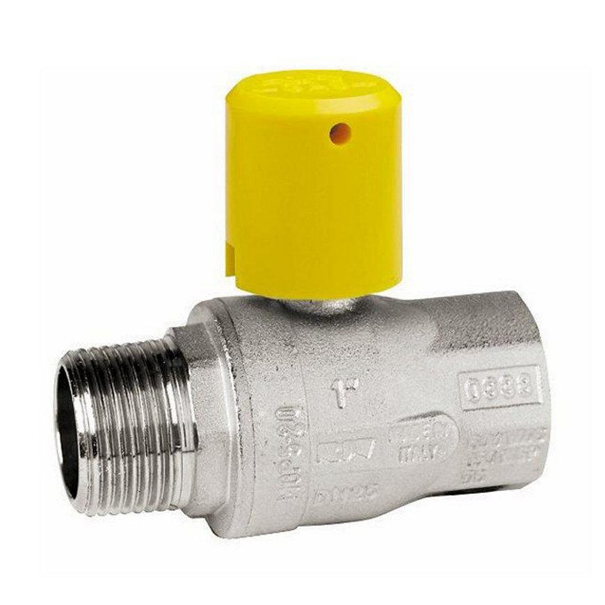 "RIV messing verchroomde gaskogelafsluiter, type 7227, bu.dr. x bi.dr., volle doorlaat, 2½"""