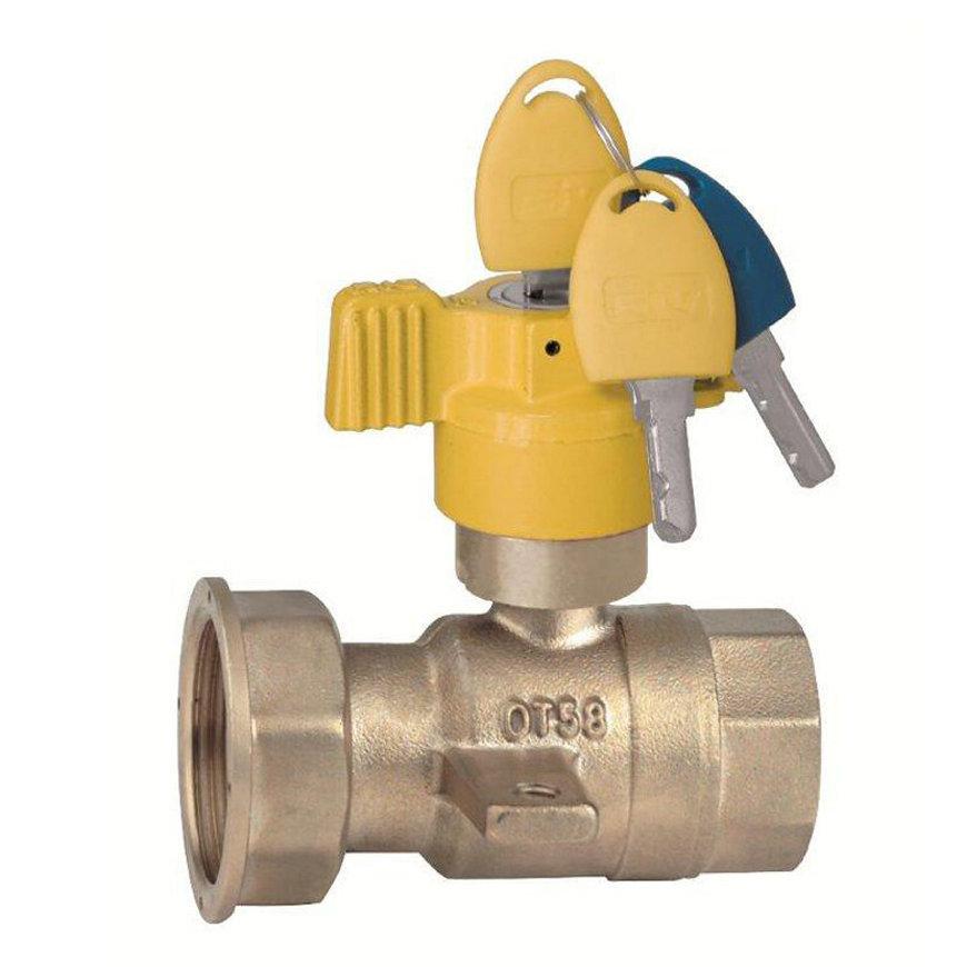 "RIV messing gaskogelafsluiter, type 7584, 2x bi.dr., standaard doorlaat, ¾"" x 1¼"""