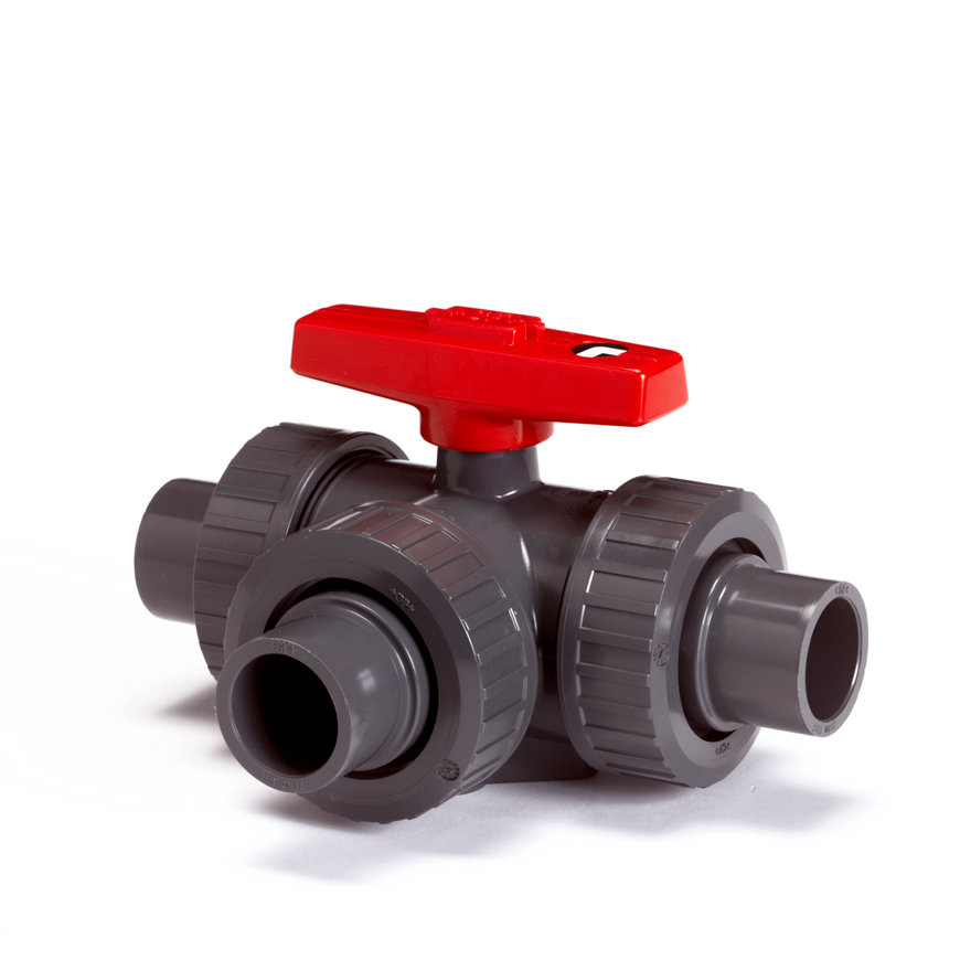 GF pvc 3-weg kogelafsluiter, type 543/90°, PN 10, 3x uitwendig lijm/3x wartel, 40 mm  default 870x870