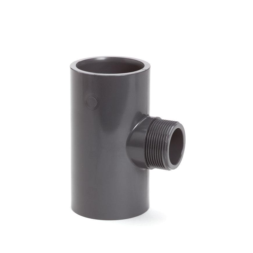 """VDL pvc draad T-stuk 90°, 16 bar, type A, 2x inwendig lijm/1x buitendraad, 63 mm x 1""""  default 870x870"""