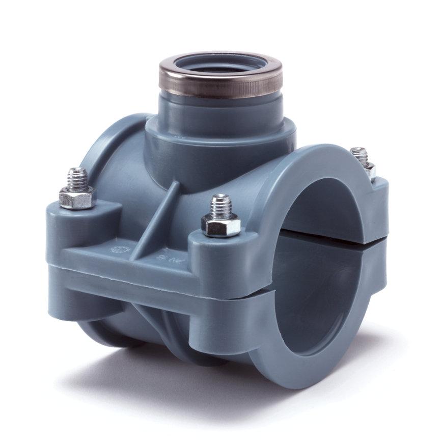 """Unidelta pp aanboorzadel, 1x binnendraad, blauw, incl. bouten en moeren, 110 mm x 2"""""""