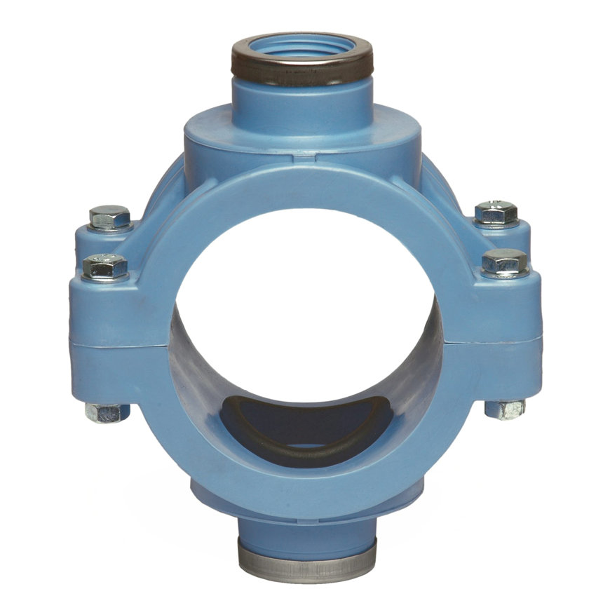 """Unidelta pp aanboorzadel, 2x binnendraad,  blauw, incl. bouten en moeren, 110 mm x ½""""  default 870x870"""