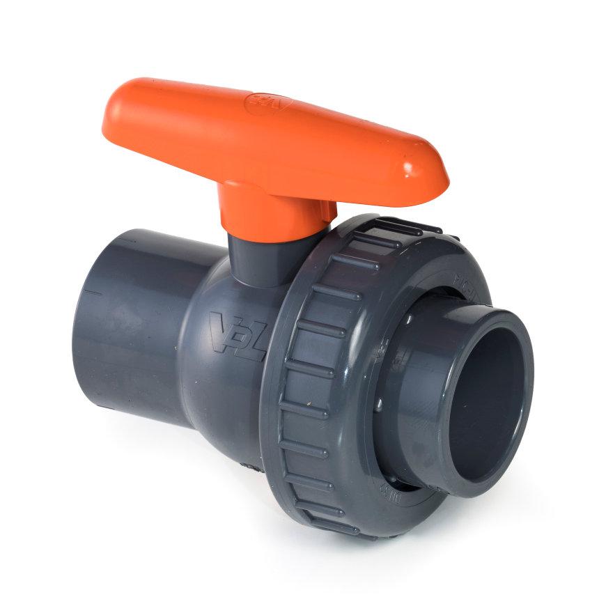 VDL pvc kogelafsluiter, 2x inwendig lijm/1x wartel, 16 bar, 20 mm, viton