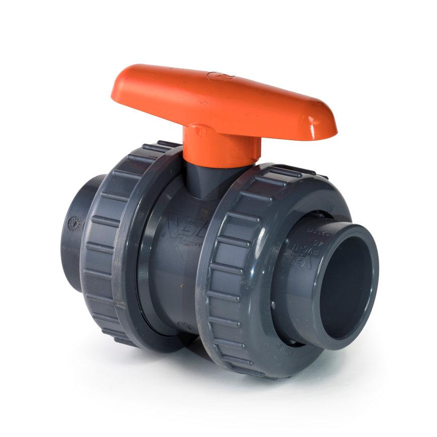 VDL pvc kogelafsluiter, 2x inwendig lijm/2x wartel, 10 bar, 90 mm, viton  default 870x870
