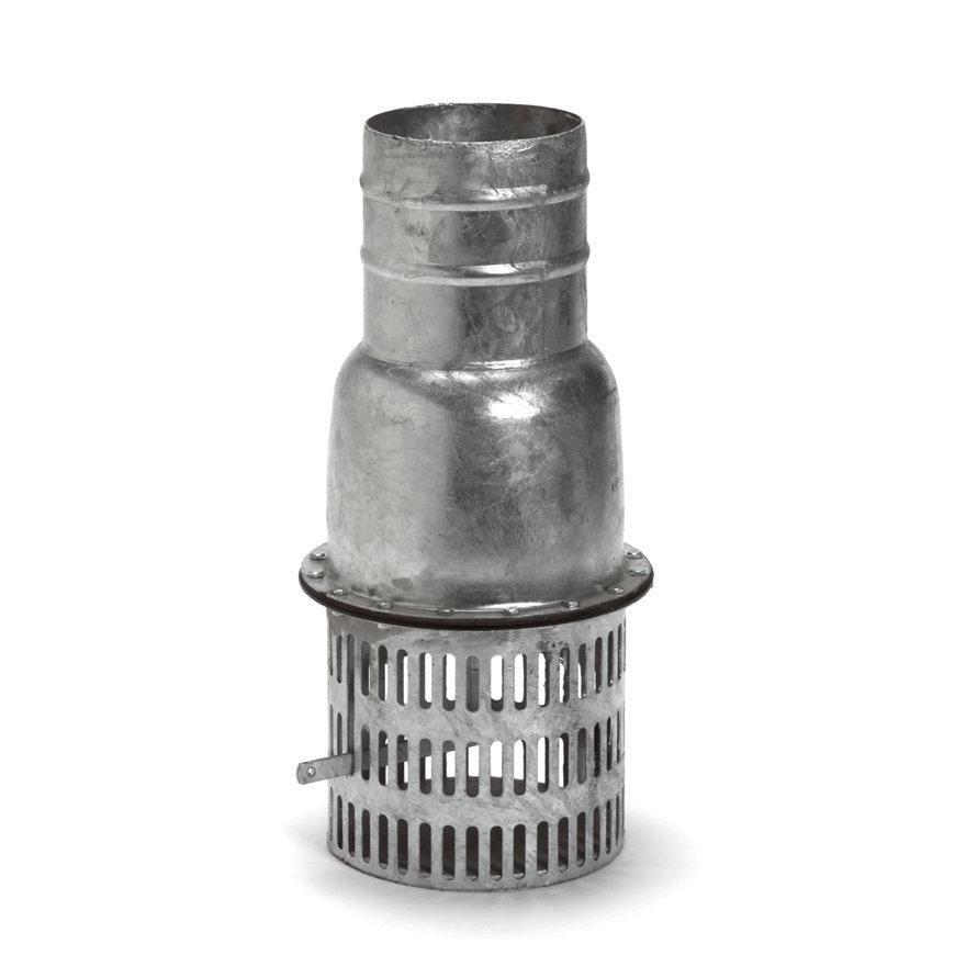 Zuigkorf, verzinkt, met slangpilaar voorzien van voetklep en kleplichter, d = 150 mm  default 870x870
