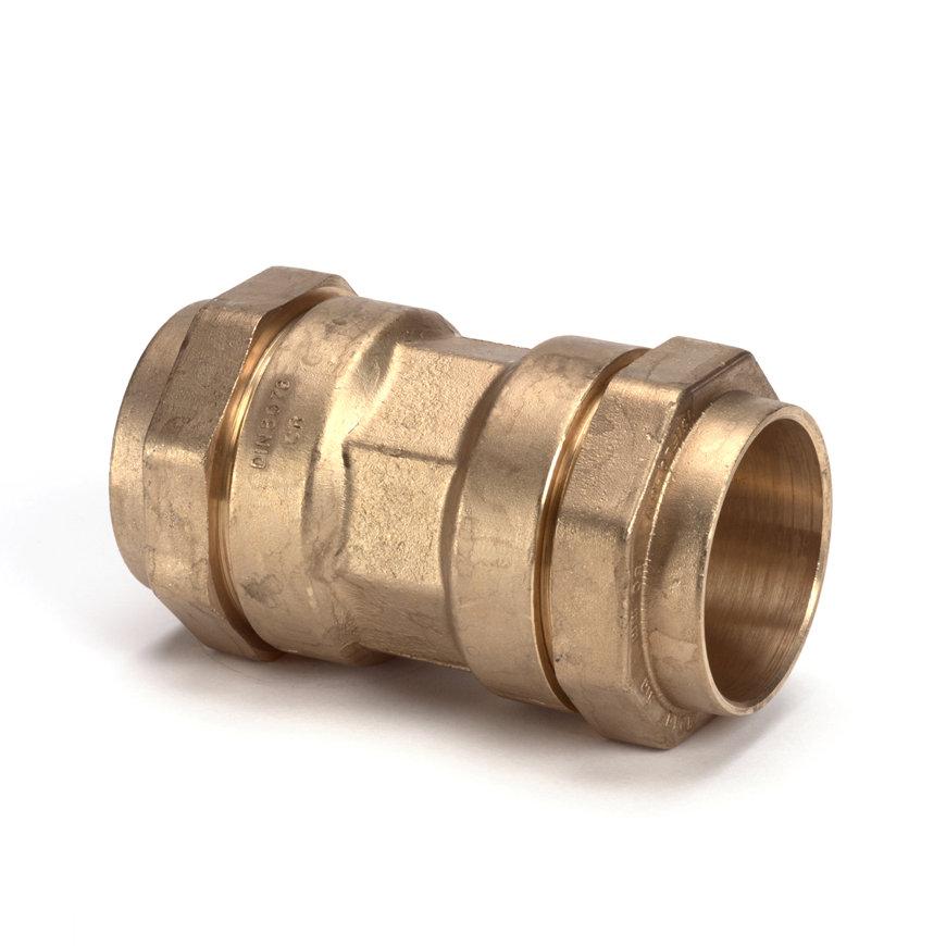 Isiflo messing koppeling, Kiwa/GASTEC QA, 2x klem, 40 x 40 mm